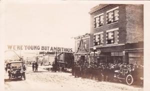 RP: Main Street, Crowd in front of drug Store, NORTH BATTLEFORD, Saskatchewan