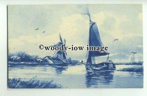 ft1500 - Netherlands - Windmills on Canals - 3 artist drawn postcards