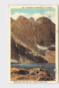 ANTIQUE POSTCARD NATIONAL STATE PARK ROCKY MOUNTAIN LONGS PEAK CHASM LAKE