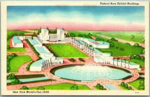 1939 New York World's Fair Expo Postcard Federal Area Exhibit Buildings Linen