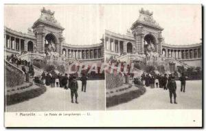 Stereoscopic Card - Marseilles - Palace Longchamps - Old Postcard