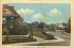 Calgary Alberta~Residential Section~Street Cuves Past Homes~1940s Postcard