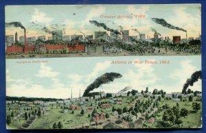Atlanta Georgia ga before after 1864 and 1909 two views 1911 old postcard