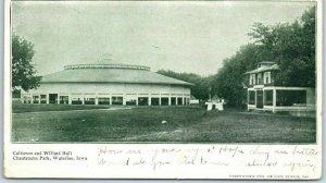 Waterloo, Iowa Postcard Coliseum & Willard Hall - Chautauqua Park 1907 Cancel
