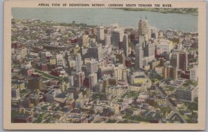Detroit, Mich., Aerial view of Detroit, Looking South toward the River-