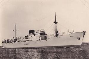 MS Rhodes Rhodos Greek Swedish America Line DFDS Ship RPC Postcard
