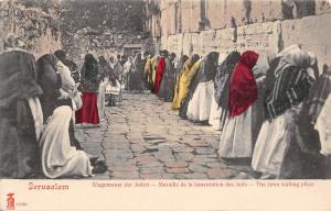 Jerusalem~Waling Wall~Jewish Ladies w/Colorful Scarfs~German, French Title c1905