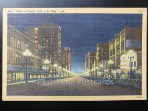 USA: Utah, Salt Lake City, Main Street at Night c1930's - Old Postcard