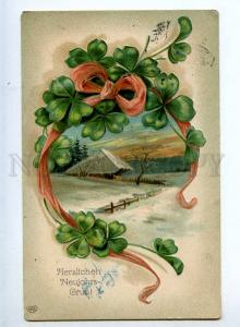 240578 NEW YEAR Clover Landscape Vintage WWI Post FELDPOST PC
