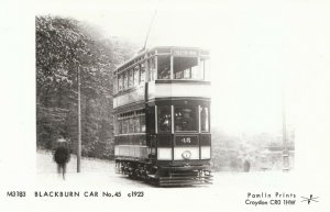 Tram Postcard - Lancashire - Blackburn Car No.45 c1923 - Ref BE999