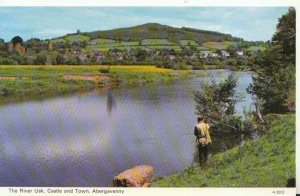 Wales Postcard - The River Usk - Castle and Town - Abergavenny - Ref TZ5971