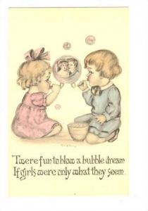Boy and Girl blowing bubbles, Couple in bubble, 00-10s