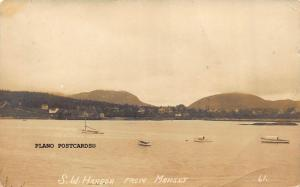 SOUTH WEST HARBOR, MAINE VIEW FROM MANSET-1914 RPPC REAL PHOTO POSTCARD