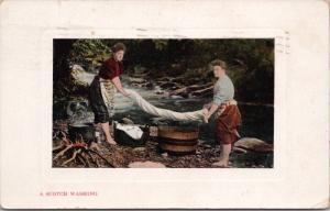 A Scotch Washing Scotland c1910 Postcard D66