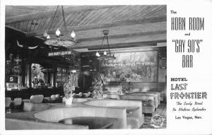 Gay 90s Bar Horn Room Interior 1940s Frasher RPPC Las Vegas Nevada Postcard 1400