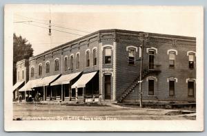 Lost Nation Iowa~South Main Street Bank~Basement Barber Shop~Hardware~c1910 RPPC