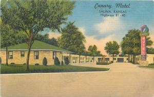 Salina Kansas~Canary Motel~1950s Linen Motor Court~Postcard