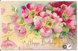 Fuchsia Pink Country Roses in Watercolor Happy Birthday to You Vintage Postcard