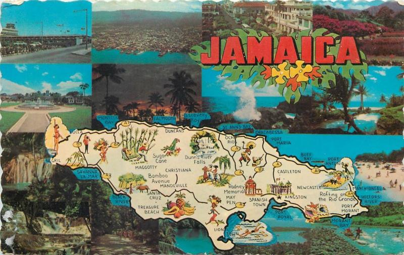 Jamaica West Indies map & multi views jamaican coastline Palisadoes airport