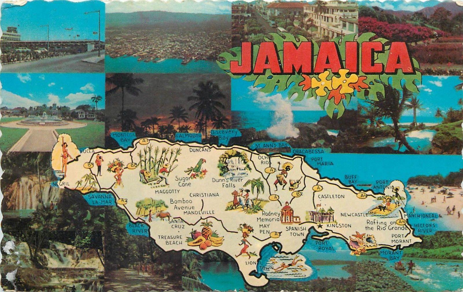 Jamaica West Indies map & multi views jamaican coastline ...