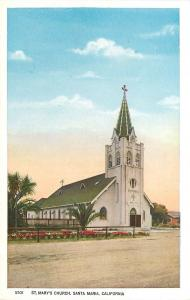 Santa Maria California~St Mary's Catholic Church~Dirt Road~1920s Postcard