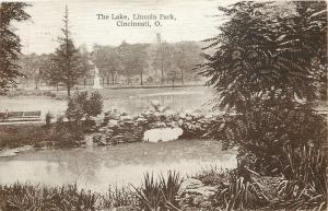 Cincinnati Ohio~Lincoln Park Lake~Captain Desmond Statue~c1884 Riots~1910 PC