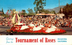 California Pasadena Greetings From The Tournament Of Roses Showing Float Of T...