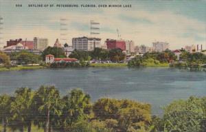 Florida St Petersburg Skyline Over Mirror Lake 1952