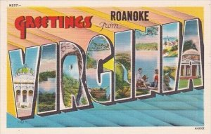 Greetings From Roanoke Indiana Large Letter Linen