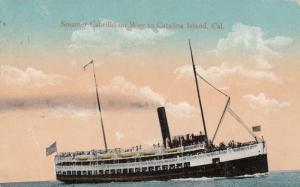 Steamer Cabrillo on Way to CATALINA ISLAND, California , PU-1913
