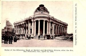 CA - San Francisco. Ruins of Hibernian Bank at Market & McAllister Sts., Apri...