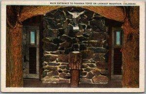 Golden, Colorado Postcard Entrance to PAHASKA TEPEE on Lookout Mountain c1930s