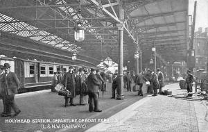 Wales Holyhead Station, Departure of Boat Express (Railway) animated, Train