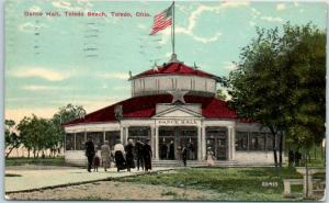 Toledo, Ohio Postcard DANCE HALL Pavilion Building View Toledo Beach 1912 Cancel