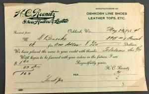 1914 HC Roenitz Shoes Rubbers Leather Oshkosh WI Receipt Invoice Bill Denmark