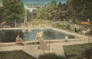 Canadensis PA Pine Knob Inn Swimming Pool Hand Colored Postcard