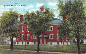 Jefferson School, Iola, Kansas, Early Postcard, Unused