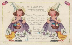 EASTER, PU-1922; Twin girls with colored egg basket, Ducklings, Poem