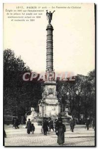 Old Postcard Paris I stopped Fountain Chatelet erected in 1807 on the site of...