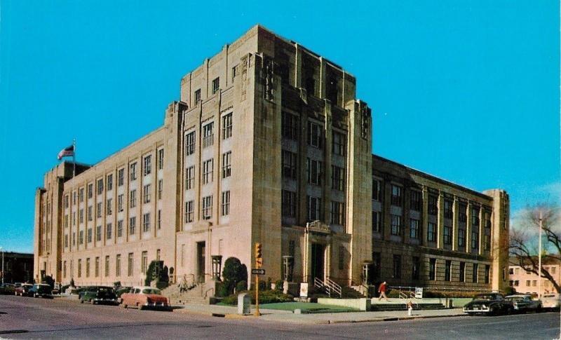 Wichita Kansas~Court House & Post Office~1950s Cars~Art Deco Building
