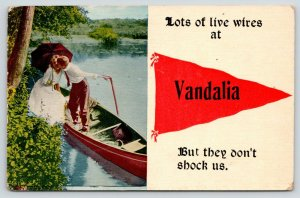 Lots of Live Wires in Vandalia Illinois~They Don't Shock Us~Boat~1914 Pennant