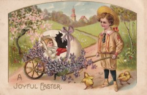 EASTER, 1900-10s; Boy with baby in egg shell, Forget-Me-Nots, Chicks