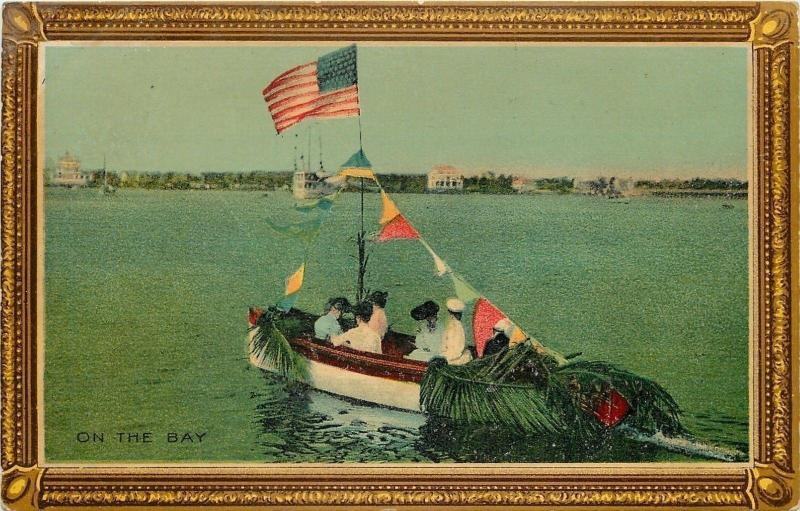On the Bay~Victorian Ladies in Decorated Boat~US Flag~Pennants~Palms~AMP Co