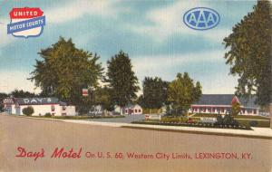 day's motel on US 60 Lexington kentucky L4706 antique postcard