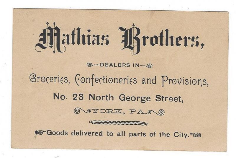 Victorian Trade Card Organ Grinder Cat Mathias Bros York PA