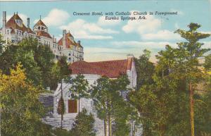Crescent Hotel, With Catholic Church In Foreground, EUREKA SPRINGS, Arkansas,...