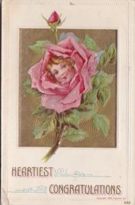 Heartiest Congratulations Girls Face In Rose Bud 1914