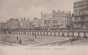 Brunswick Terrace Brighton + Shakespeare Play Visit Theatre Antique Postcard