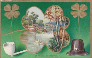 SAINT-PATRICK'S DAY; Greetings, 1912; Village image inside of Shamrock,Embossed