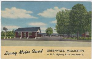 Mississippi - Greenville - Lowry Motor Court - US #82 - 1945